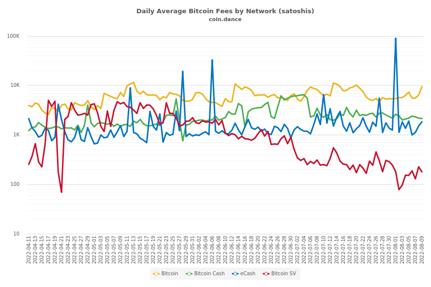 Daily Average Bitcoin Fees by Network (satoshis)